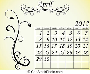 dekorativ, sätta, april, 2, kalender, fanfar, 2012