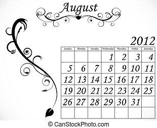 dekorativ, sätta, augusti, 2, kalender, fanfar, 2012