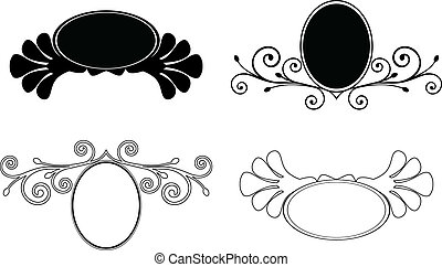 dekorativ, sätta, frames., illustration, vektor, blommig