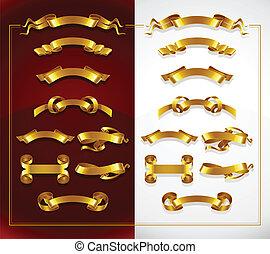 dekorativ, sätta, guld, baner, vit röd