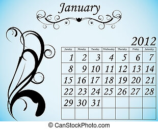 dekorativ, sätta, januari, 2, kalender, fanfar, 2012