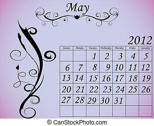 dekorativ, sätta, maj, 2, kalender, fanfar, 2012