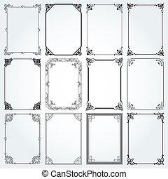 dekorativ, sätta, vektor, 2, inramar, kanter, rektangel