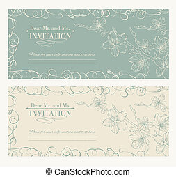 dekorativ, sakura, karte