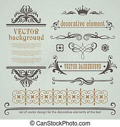 dekorativ, satz, elemente, calligraphic