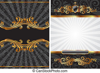 dekorativ, satz, gold, &, vektor, schwarz, luxus, hintergrund