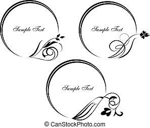 dekorativ, satz, illustration., rahmen, vektor, branch., runder