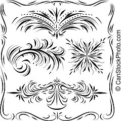 dekorativ, schnörkel, linework