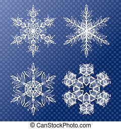 dekorativ, schneeflocken, muster, set., thema, hintergrund, weihnachten, winter