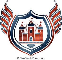 dekorativ, shield., vektor, emblem, illustration., geflügelt, mantel, ritterwappen, arme, freigestellt, schutz, hofburg, mittelalterlich