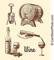 dekorativ, skiss, sätta, vin