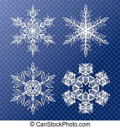 dekorativ, snöflingor, set., fond mönstra, för, vinter, och, jul, tema