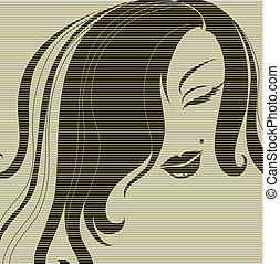 dekorativ, stående, av, kvinna, med, långt hår
