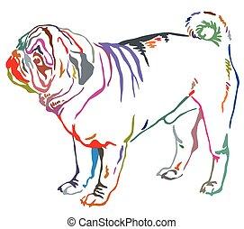 dekorativ, stehende , bunte, pug hund, abbildung, vektor, porträt