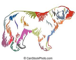 dekorativ, stehende , leonberger, bunte, hund, abbildung, vektor, porträt
