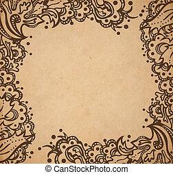 dekorativ, stil, altes , weinlese, rahmen, beschaffenheit, hand, papier, viktorianische , vektor, scrapbooking, abbildung, hintergrund, blumen-, gezeichnet, seite