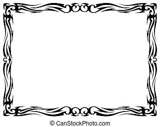 dekorativ, t�towierung, dekorativ, einfache , rahmen, schwarz