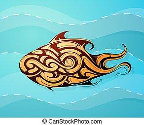 dekorativ, t�towierung, fische, form