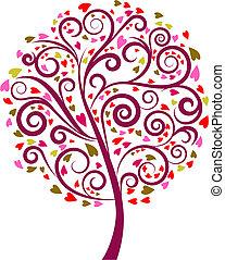 dekorativ, träd, -, 1