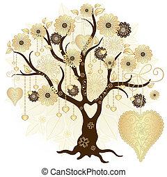 dekorativ, träd, guld, valentinbrev