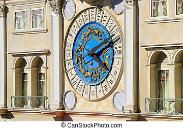 dekorativ, uhr, auf, venezianisch, erholungsort- hotel, und, kasino, fassade, las