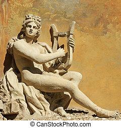 dekorativ, uralt, wand, gott, -, instrument, schnitzerei,...