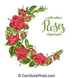 dekorativ, vacker, bladen, krans, blomningen, realistisk, ...