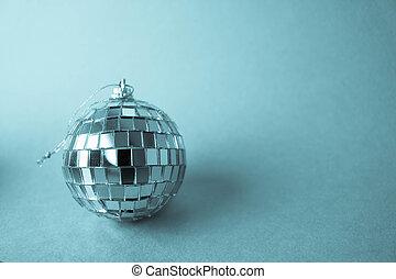 dekorativ, vacker, spegel, blå, leksak, vinter, häfta, boll, jul, kring kula, festlig, klubba, glas, bakgrund, gnistranden, musikalisk, silver, disko, liten, glänsande, jul