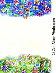 dekorativ, vattenfärg, fjäder, fjäril, och, tusensköna, gräns