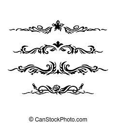 dekorativ, vektor, design, illustration., elements.