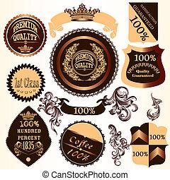 dekorativ, virvlar, etiketter, kollektion, vektor, märken