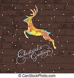 dekorativ, weihnachten, hirsch