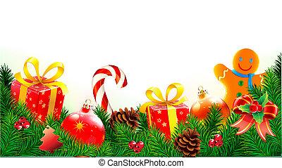 dekorativ, weihnachten, zusammensetzung