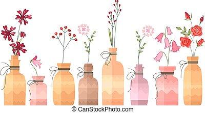 dekorativ, weinlese, klein, flaschen, white.