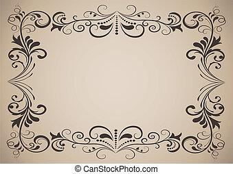 dekorativ, weinlese, rahmen, space., horizontal, kopie