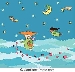 dekorativ, wenig, wolkenhimmel, einladung, sky., postkarte, engel, fliegendes, seamless, valentine, day., tag, vektor, oben, nacht, herzen, wedding, umrandungen, karte, gruß
