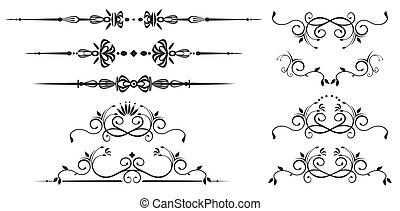 dekorativ, wirbel, elemente