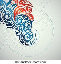 dekorativ, wirbelt, abstraktion