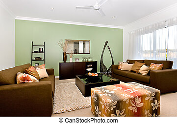 dekorativ, zimmer, lebensunterhalt, haus, groß, modern, phantasie, luxuriös, sofas, posten, inneneinrichtung, viele