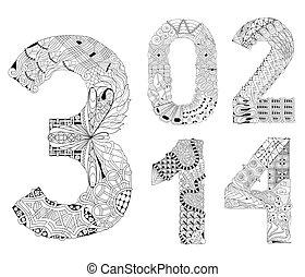 dekorativ, zwei, satz, null, eins, zahl, vektor, vier, drei,...