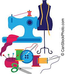 dekorative elementer, designeren, sæt, mode, klæder