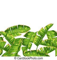dekoratives muster, leaves., seamless, tropische , handfläche, laub, banane