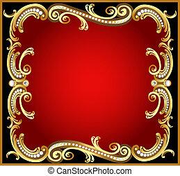 dekoratives muster, rahmen, gold, perle