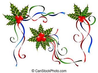 dekorer, bånd, jul