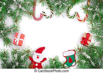 dekorerat, din, bakgrund, avskrift, vit, text, ram, utrymme, isolerat, jul