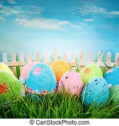 dekorerat, påsk eggar