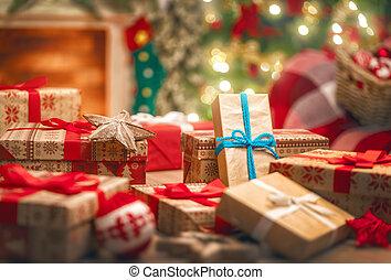 dekorerat, rutor, rum, gåva