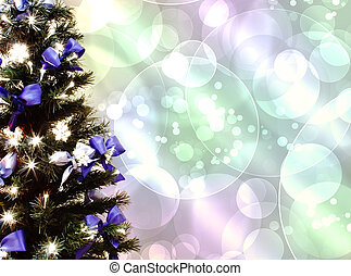 dekorerat, träd, jul