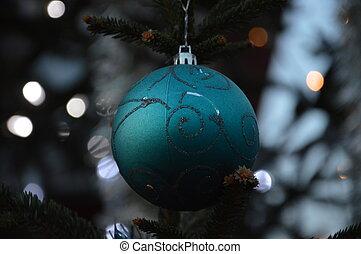 dekorerat, träd, jul, utanför