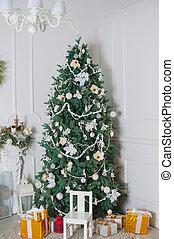 dekorerat, träd, rum, jul